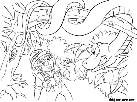 Print out Jungle Snake and boy coloring pages