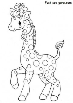 Printable africa animal Giraffe Pair coloring pages