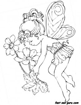 Printable beautiful Cute fairy coloring pages