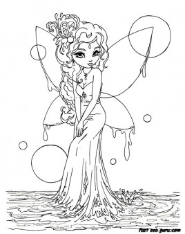 Printable beautiful Fairy on Water coloring in pages