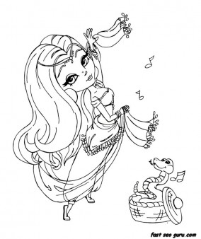 Printable beautiful girl Belly dancer coloring book pages