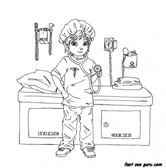 Printable girl playing as a doctor coloring pages