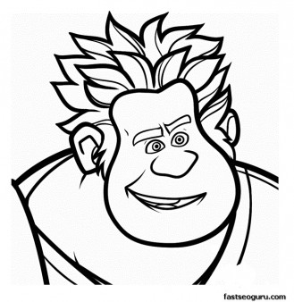 Printable wreck it ralph happy face coloring pages