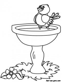 Printable birds baby birdbath animals coloring pages
