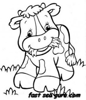Printable farm a happy cow babay coloring pages