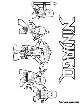 Printable Ninjago Ninja Team Coloring Page for boy