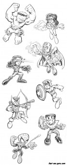 The Avengers Lego characters Superheroes coloring pages
