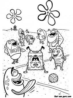 Printable cartoon network spongebob coloring in sheets