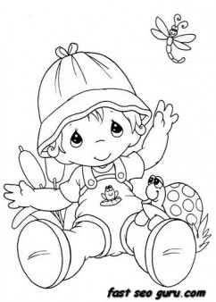summer little boy playing with insect coloring pages