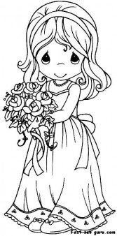 Printable beautiful girl in wedding dress coloring page
