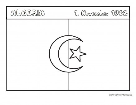 Printable Flag of algeria coloring page