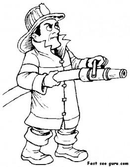 Printable fireman Sam coloring page