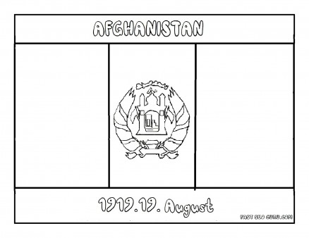 Printable Flag of afghanistan coloring page