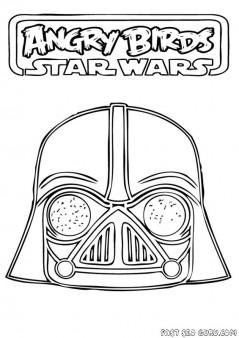 Printable Angry Birds Star Wars Dart vader Coloring Page