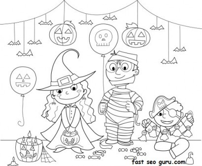 kids halloween costume party ideas coloring page