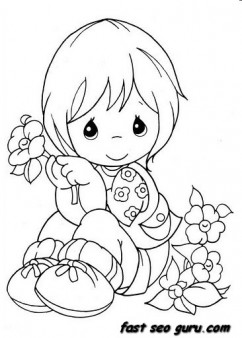 Printable summer little boy with flowers coloring pages