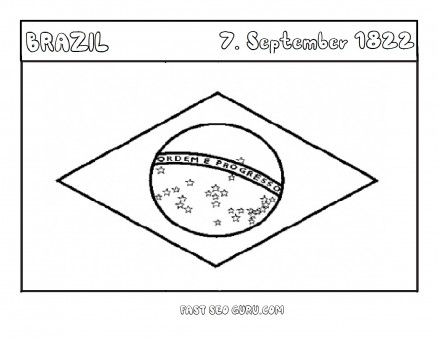 Printable Flag of Brasil coloring page