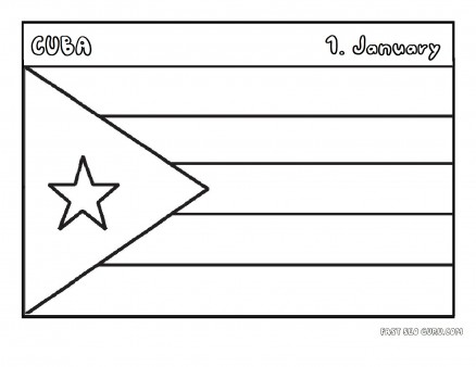 Printable flag of cuba coloring page