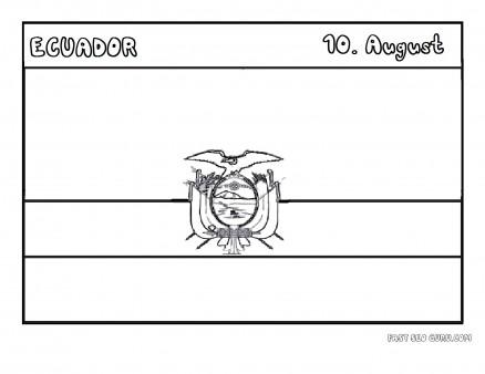 Printable flag of ecuador coloring page
