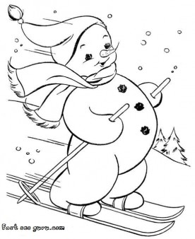 print out snowman on skis coloring page