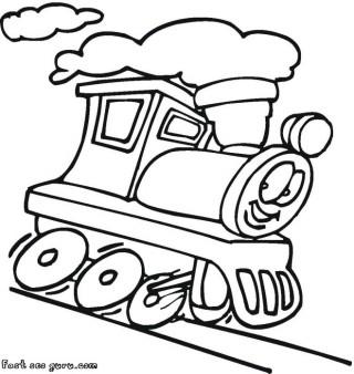 Printable cartoon dam train colorign pages