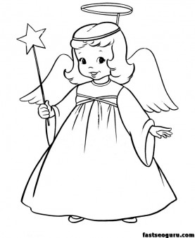 Christmas Angel and Star printable coloring pages