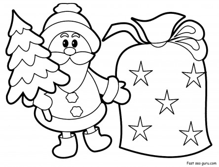 Printable christmas Santa Claus with sack pack coloring pages