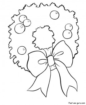 Printable Christmas Wreath Coloring Pages