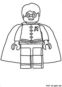 Printable Lego Batman Robin coloring in sheet