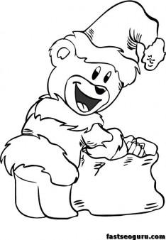 Christmas Santa Bear coloring print out sheets