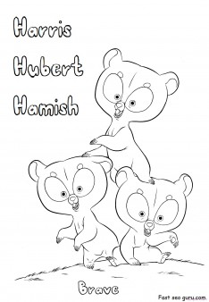 Printable Brave Harris Hubert and Hamish coloring pages