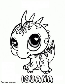 Printable littlest pet shop iguana colouring in page