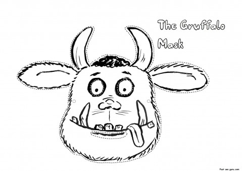printable cut out masker Gruffalo coloring in mask