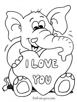 Printable Valentines Day Teddy Elephant Card Coloring Pages Free Kids Coloring Pages Printable