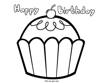 Print out happy birthday muffin cupcake coloring pages