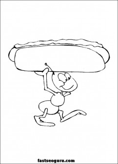 Ants with hot dog print out coloring page
