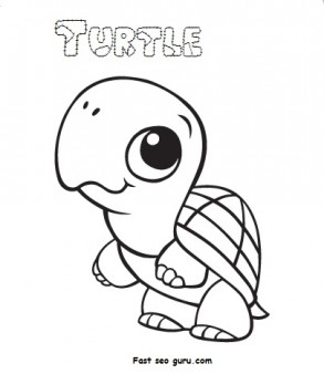 Print out Baby Animal Turtle Coloring Pages