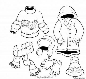 Printable Winter Clothes Coloring Pages