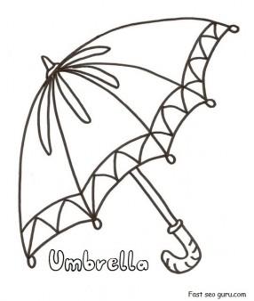 Printable umbrella coloring in pages for preschool