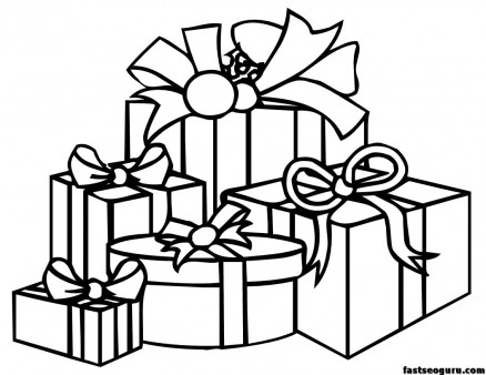 Print out coloring pagesn of christmas present
