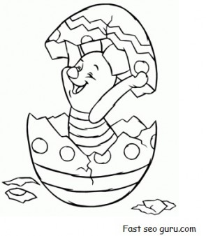 Print out Piglet Hatching from Easter Egg Coloring Pages ...