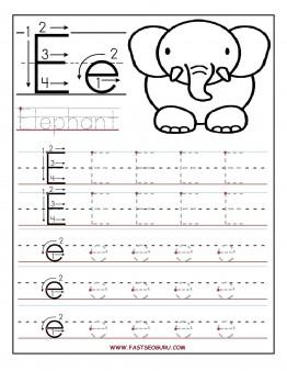 Printable letter E tracing worksheets for preschool