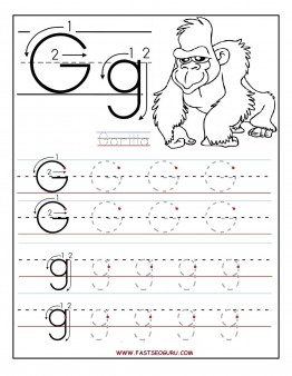 Printable letter G tracing worksheets for preschool