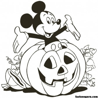 Printable mickey mouse Halloween Coloring pages