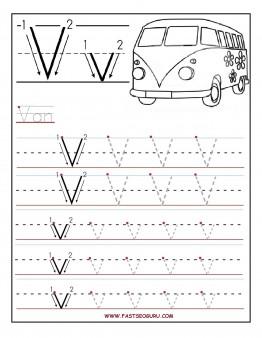 Printable letter V tracing worksheets for preschool Printable