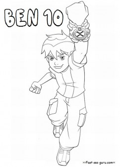 Printable cartoon ben 10 coloring pages