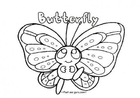 Printable preschool butterfly coloring pages