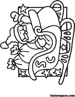 Printable Santa Sleigh coloring pages for kids