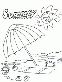 free printable summer beach umbrella coloring pages