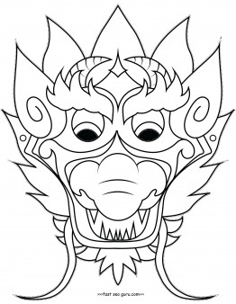 Printable chinese dragon mask coloring pages cut out ...
